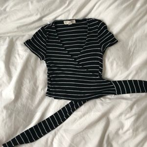 urban outfitters striped wrap top
